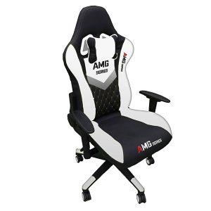 Ghế Gaming AMG chân xoay màu trắng đen ảnh 1